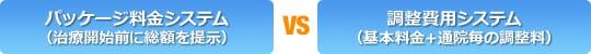 パッケージ料金システム(治療開始前に総額を提示)vs調整費用システム(基本料金+通院毎の調整料)